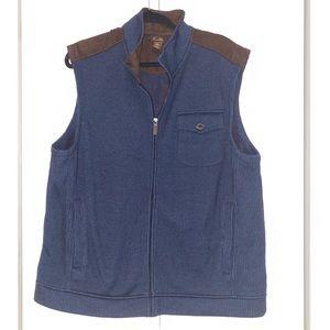 Men's Tasso Elba Zip Front Knit Vest Navy & Brown